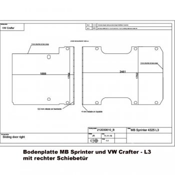 2006-2018 Mercedes Sprinter Sperrholzboden Bodenplatte